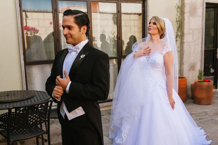 So cute!! San Miguel de Allende Wedding, bride and groom first look
