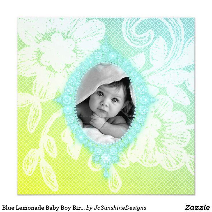Blue Lemonade Baby Boy Birth Announcement Invite