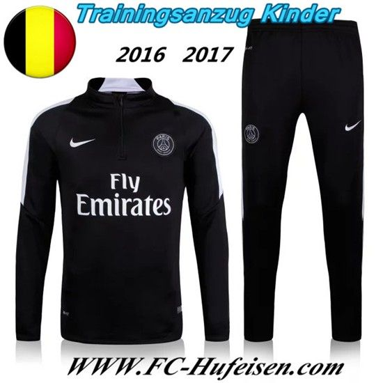 Schönsten Neue Fußball Trainingsanzug PSG Kinder Kits Schwarz 2016 2017 Meaney