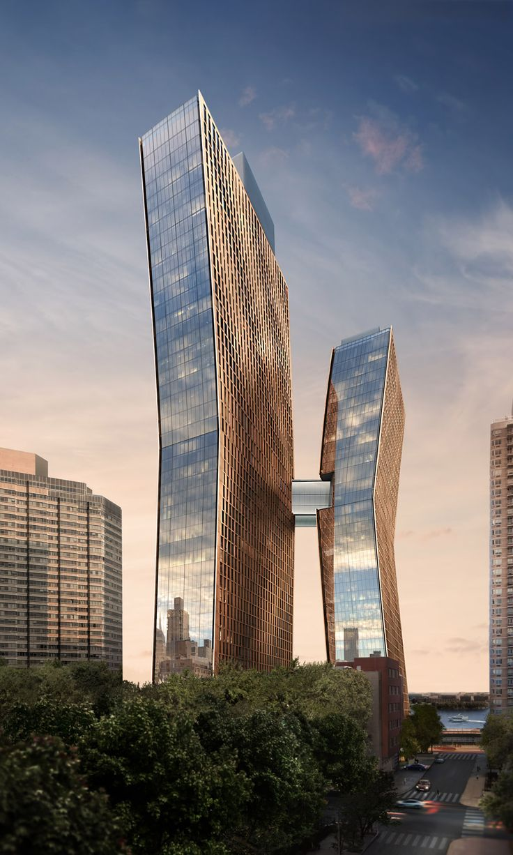 Two bendy apartment towers by SHoP Architects will be connected by a skybridge with pool