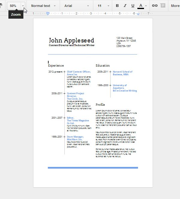 Docs Resume Template. Example Google Docs Cover Letter Resume