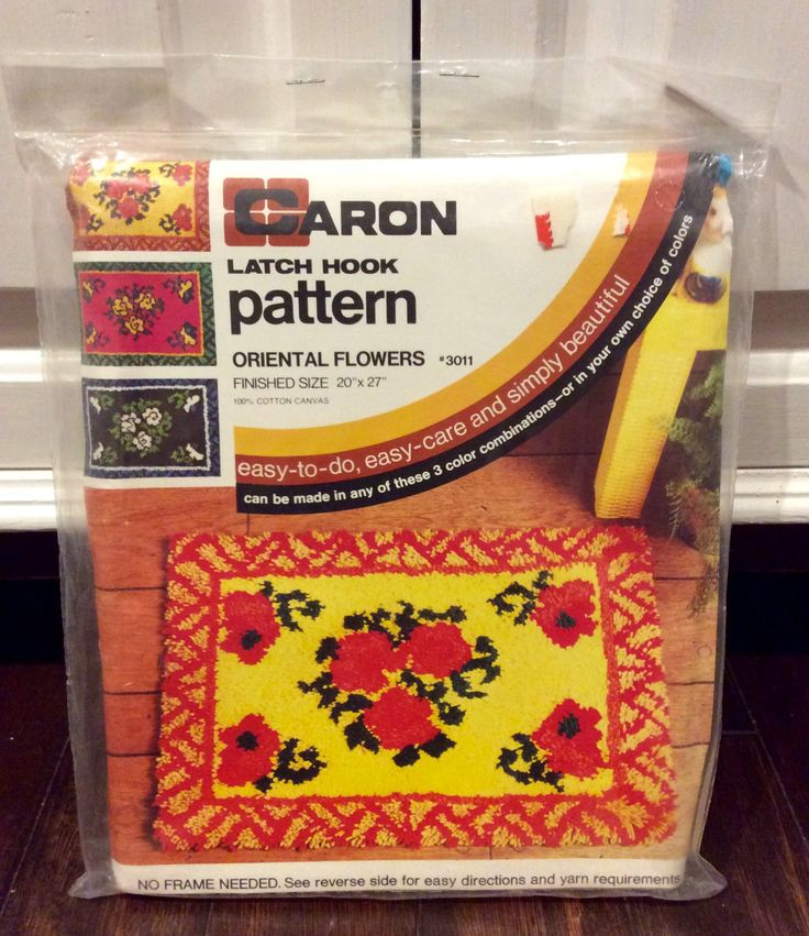 Vintage Caron Floral Latch Hook Rug NIP, Caron Latch Hook Rugs, Latch Hook Kit, Retro Latch Hook Rugs, DIY Hook Rugs, Floral Latch Hook Rug by Lalecreations on Etsy