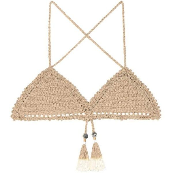 She Made Me Essential Fixed Triangle Crochet Bikini Top ($100) ❤ liked on Polyvore featuring swimwear, bikinis, bikini tops, swimsuits, beige, crochet triangle bikini, swimsuits two piece, triangle bikini top, tankini bathing suit tops and triangle swimsuit