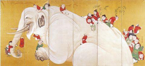長沢芦雪 Rosetu Nagasawa『白象唐子遊戯図屏風』(右隻 18世紀)個人蔵
