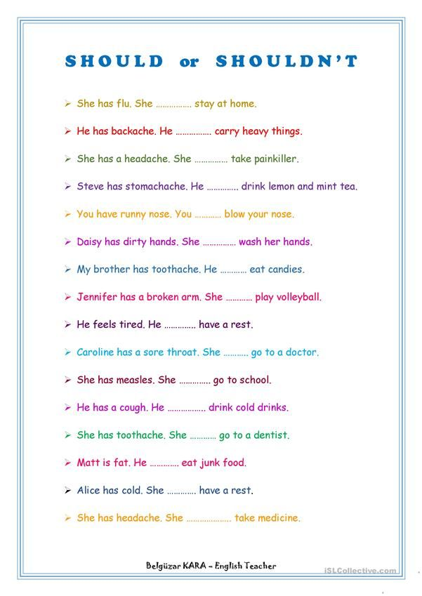 Should - Shouldn't | Aulas de inglês, Atividades de ingles ...