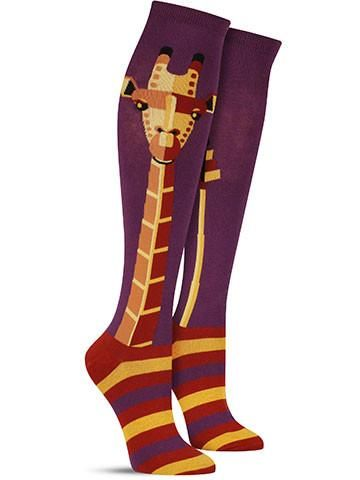 Knee socks are the perfect venue for a creature with a neck like this! On these fun and boldly colored giraffe socks, the creature's long neck stretches up the length of the leg. Designed in a graphic