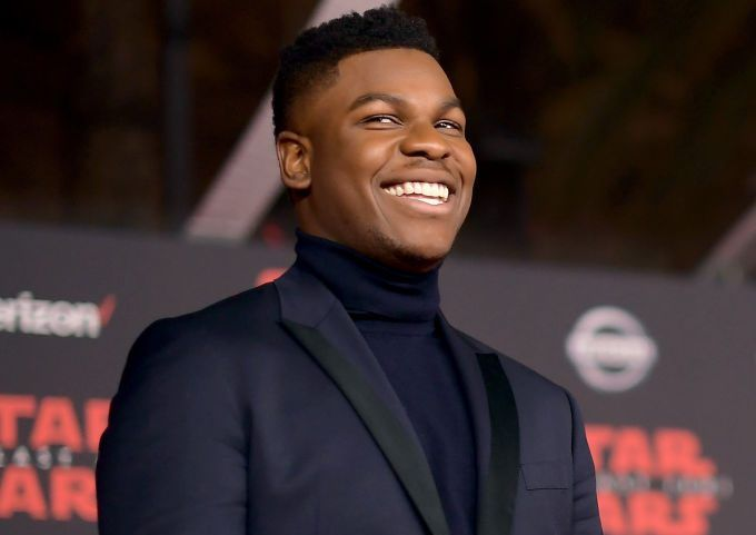John Boyega makes it to LA to join co-stars at the Star Wars: The Last Jedi premiere