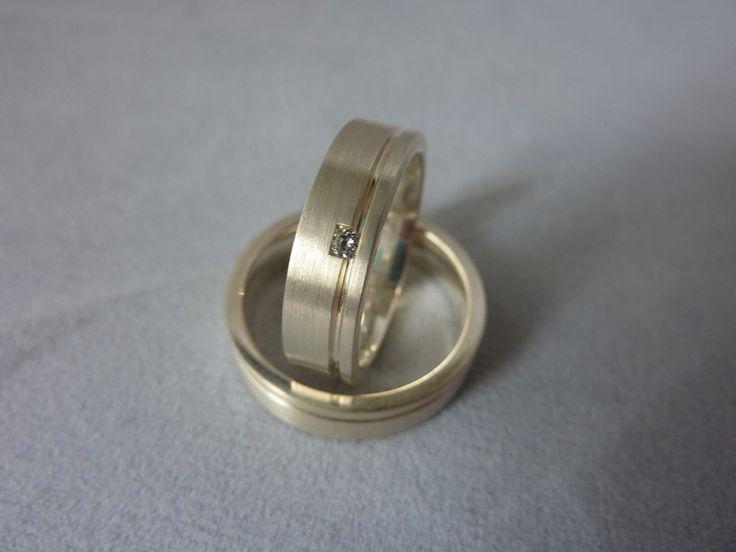 Eheringe - Eheringe/ Partnerringe Silber mit Brillant - ein Designerstück von Anja-Stober bei DaWanda