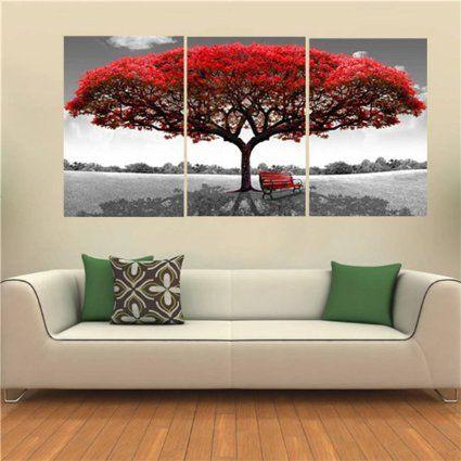 """KING DO WAY Set De 3 Parties """"Grand Arbre Rouge"""" Impressions Sur Toile Murale Image Peinture Décor Maison Bureau Canvas Print Painting (Sans Cadre)-70cmX50cm"""