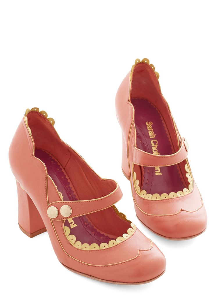 Sweet Intermission Heel. You deserve a break and a tasty refreshment - because as soon as you snap-closed these leather Mary Janes from Sarah Chofakian, they havent slowed their stylish steps. #pink #prom #wedding #bridesmaid #bride #modcloth