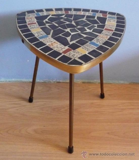 Mesita auxiliar en madera con sobre de mosaico cer mico y - Mosaico de madera ...