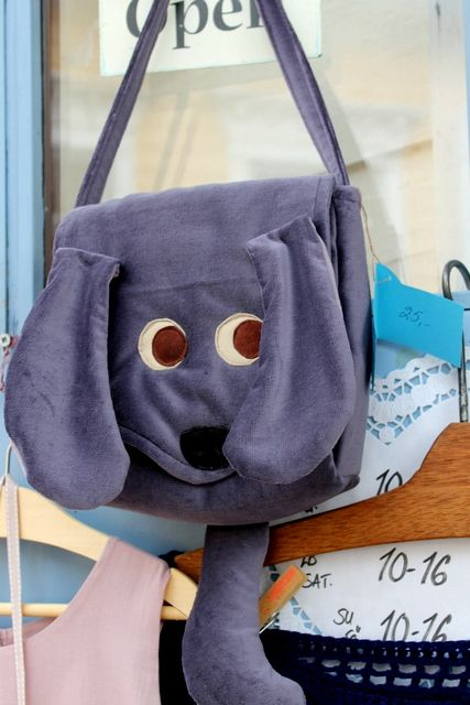 Sininen ovi shop on Jokikatu sells handcraft made by different local designers- you find for example unique post and gift cards, jewelry, clothes and bags. For children there is this cute dog bag. www.visitporvoo.fi