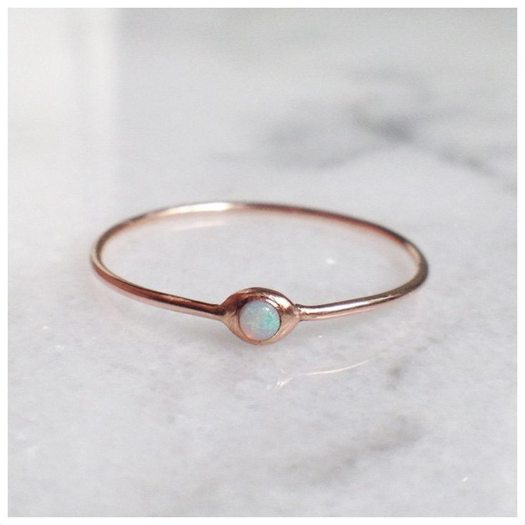 Delicate rose gold with opal ring.