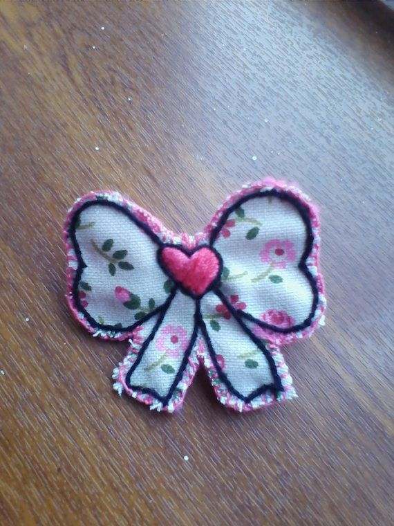 OOAK Girly floral Bow Fabric Brooch / Badge / by HeartWarmingCraft