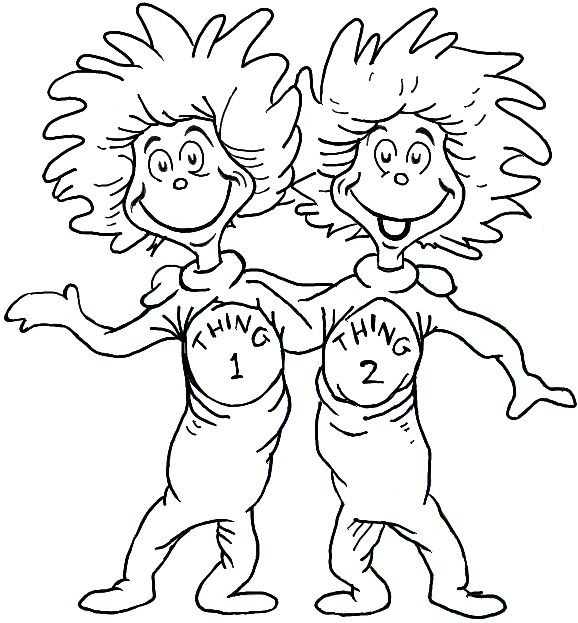 Thing 1 And Thing 2 Coloring Page Pto Dr Seuss Coloring Pages