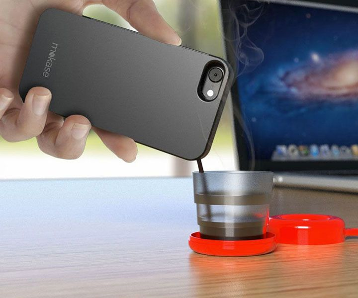Mokase Smartphone Cover Coffee Maker -- Mo' crazy, mo' coffee, Mokase! It's the latest mobile phone feature we 0% need but, while collectively rolling our eyes, some of us will still get: a smartphone case that brews coffee. Italian espresso, to be more precise. : DudeIWantThat