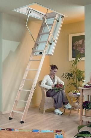 dolle profi plus timber folding loft ladder available in two standard opening sizes
