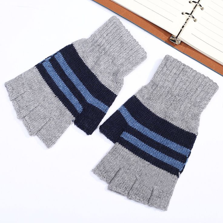 AliExpress.com Product - Limited New Eldiven Students Half Dew Refers To The Autumn And Winter Warm Gloves Wuzhi Knit Glove Stripe Wavy Wholesale