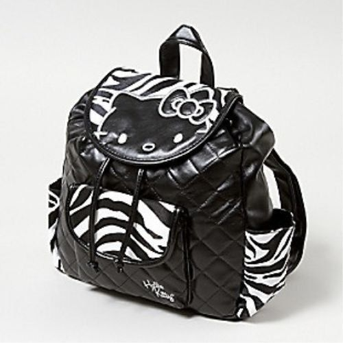 Hello Kitty Zebra Quilted Backpack Bag Purse Handbag Black White Sanrio New | eBay