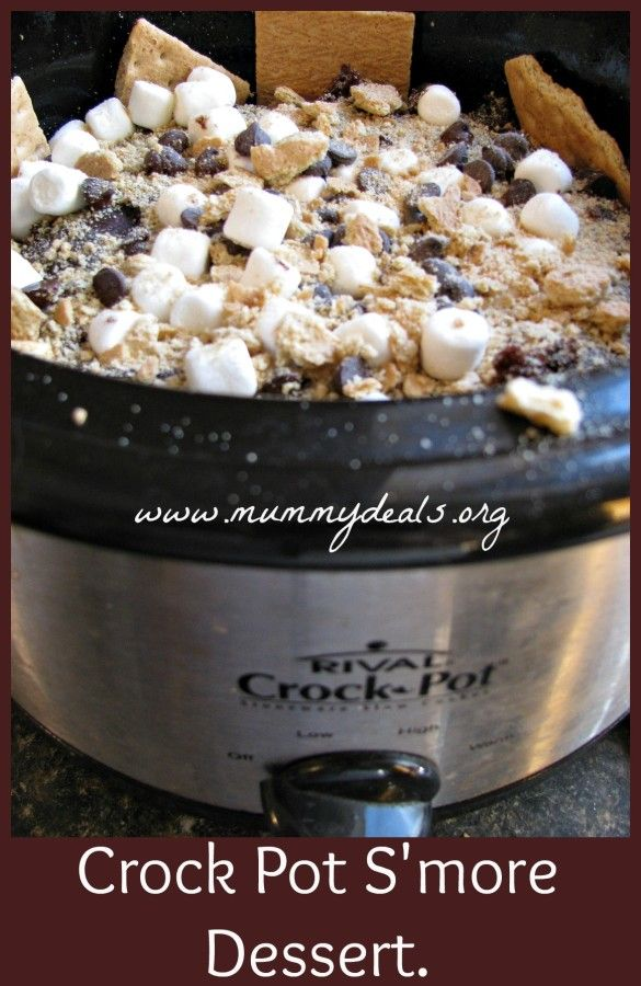 Crock Pot S'mores Cake. What??? This has robe illegal?!!!Crock Pots, Crockpot Desserts, Crock Pot Dessert, Crockpot Cake, Recipe Crockpot, Crockpot Recipes Dessert, Pots S More, Crockpot Slowcooker, Crockpot Smore