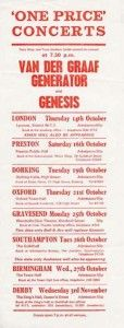 An advert for the tour Genesis did with Van Der Graaf Generator just before the original 1971 release of 'Nursery Cryme'
