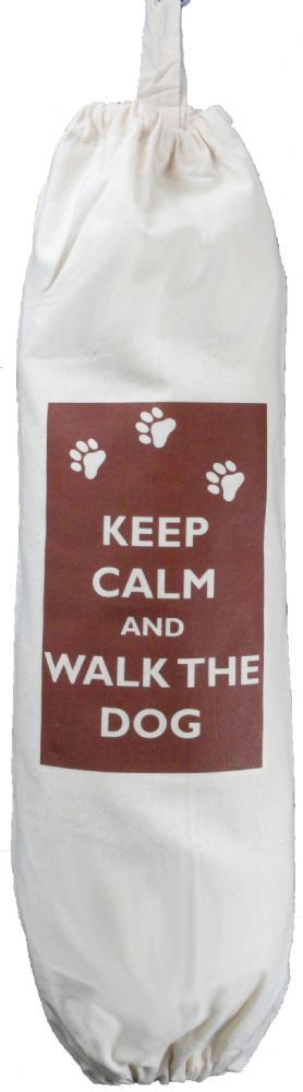KEEP CALM AND WALK THE DOG - CARRIER BAG HOLDER - Cotton - Kitchen Storage KEEP CALM AND WALK THE DOG DESIGN Natural Cotton Carrier Bag Holder
