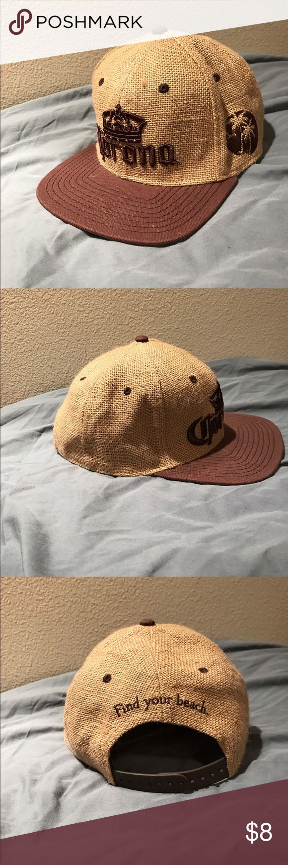 """Corona SnapBack Corona tan and brown burlap SnapBack. Corona logo on front, palm trees on left and """"find your beach"""" on the back. Only worn a few times Accessories Hats"""