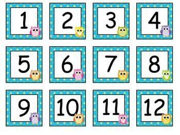 Free Owl Calendar Numbers