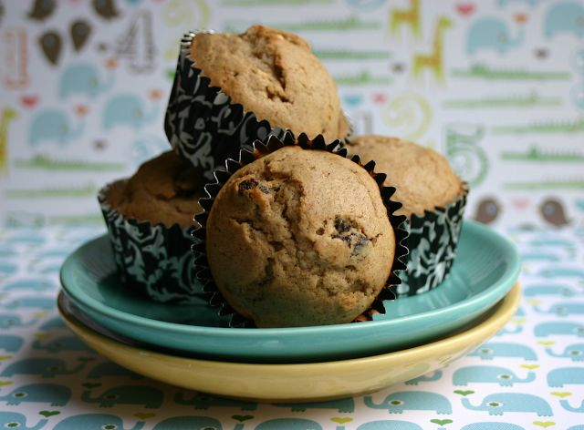 Cinnamon-and-Raisin Muffins!  A quick breakfast on the go or a perfect after-school snack!