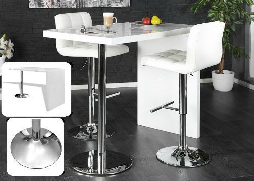 Breakfast Bar Table High Gloss White Dining Kitchen Lunch Stand Steel Leg New #VXL #contemporarydesign