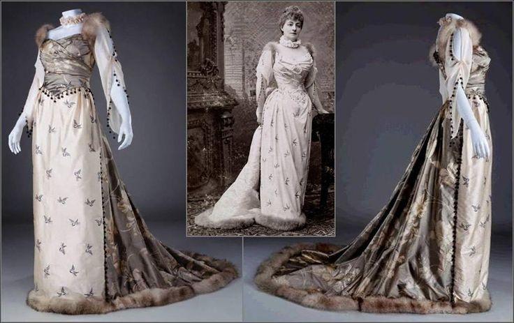 Ball gown, 1891, replica. Silk, fur, cotton. Original dress belonged to Helena Modjeska, polish actress.  by Unicornis  http://od-podszewki.blogspot.com/2013/10/nie-mogam-zabrac-sie-za-ten-wpis-od.html