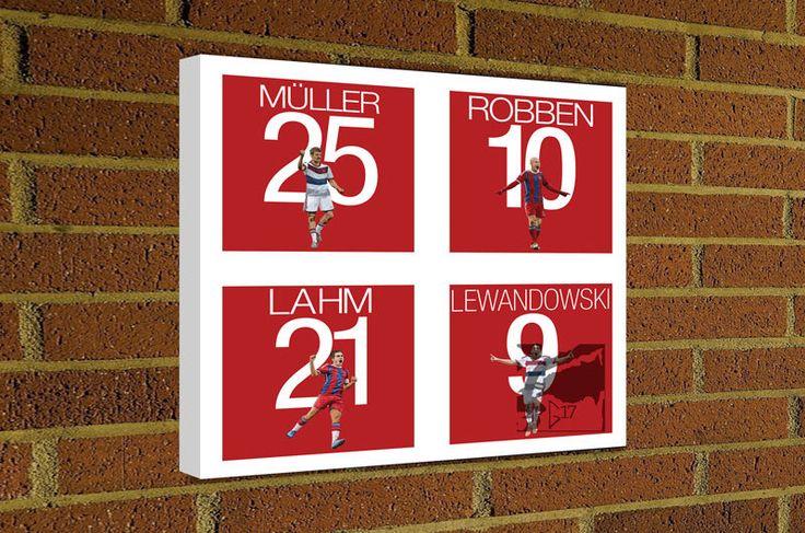 FC Bayern Munich Canvas Print Muller - Robben - Lahm - Lewandowski Art Canvas  #FCBayern #bayernmunich #bundesliga #miasanmia