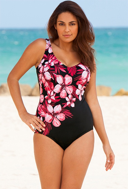 Beach Belle Pink Floral Plus Size V-Neck Swimsuit - Swimsuits For All