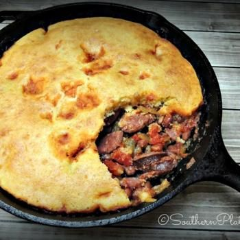 Sausage red beans and cornbread bake