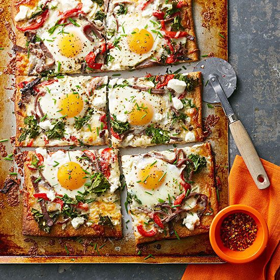 Steak, Egg and Goat Cheese Pizza: Eggs on pizza? Yes, please! The runny yolks mix deliciously with savory roast beef and tangy goat cheese. To make it a meal, pair with a simple salad. Recipe: http://www.midwestliving.com/recipe/steak-egg-and-goat-cheese-pizza/