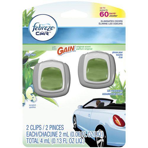 febreze gain vent clips   Febreze Car Vent Clips Gain Original Air Freshener, 0.06 fl oz, 2 ...