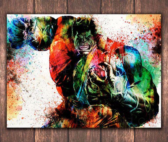 Superhero Incredible Hulk digital download, The Avengers Watercolor digital art print, Marvel comics Hulk Digital wall art print DP-53