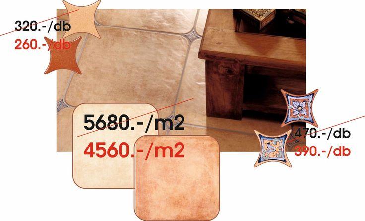 AZULEV(Spanyol) - CAZORLA:  Cazorla octogonales paja,rojo 45x45 cm padlólap - Estrella cazorla paja,rojo 6,7x6,7 cm padló dekor - Estrella carole paja,rojo 6,7x6,7 cm padló dekor