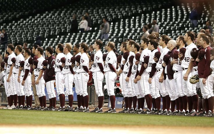 #american #ballpark #baseball #baseball diamond #baseball team #college #competition #field #game #male #national anthem #players #pregame #stadium #standing #team #texan #texas #uniform