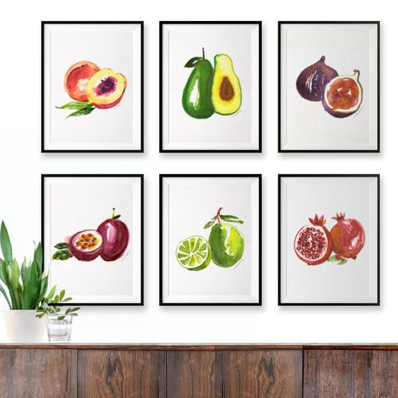 Fruit Watercolor Painting Colorful Kitchen Print Set Of 6 Vegan