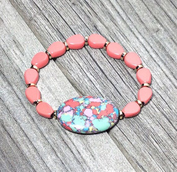 One pair of pink Turquoise Reconstituted Stone