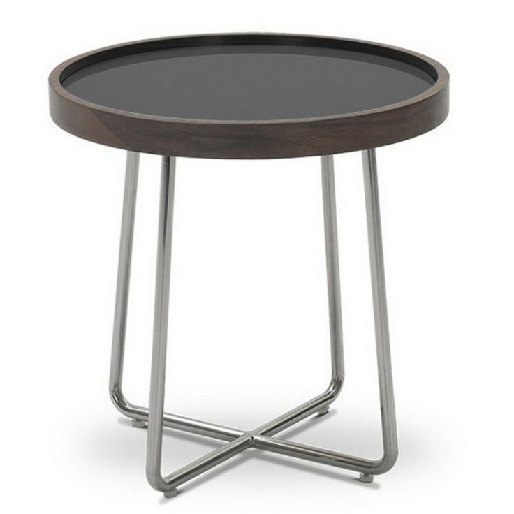 Lomax Round Walnut Modern End Table With Black Glass Top   Overstock.com  Shopping