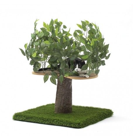 Cat trees that look like real trees are the coolest thing ever! Check out this cat tree furniture with leaves for your kitties to hide in. They will LOVE IT!