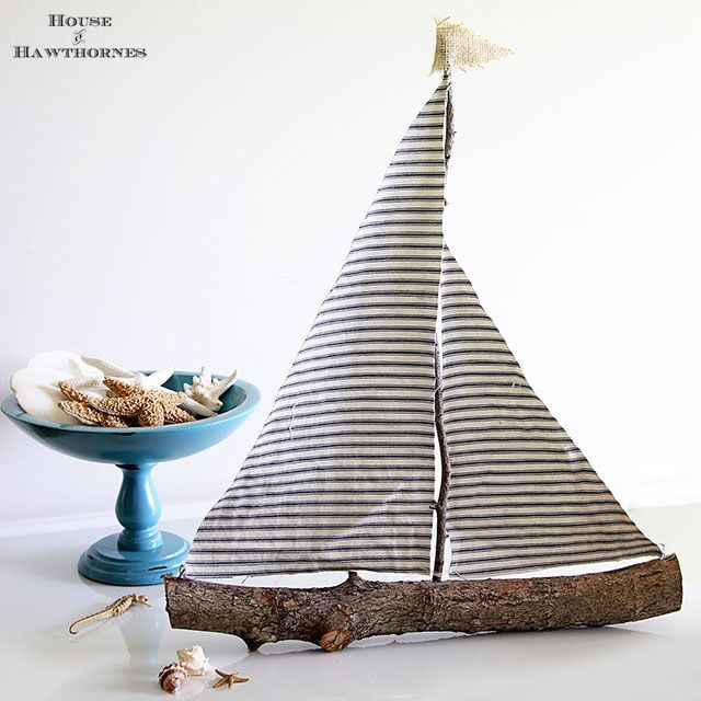 Quick And Easy DIY Sailboat Decor - A couple years ago we had a little mini tornado (F-0 I believe) go through our yard and damage a couple trees and do minor d…