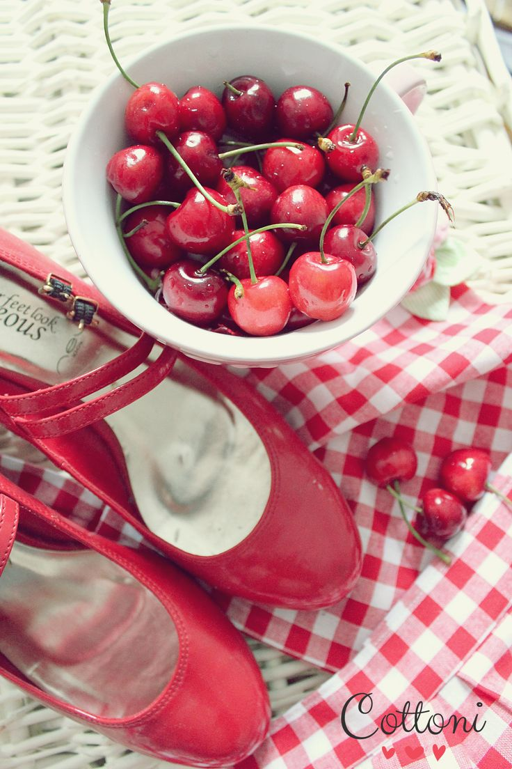 Cherries red checkered retro apron red pin up shoes