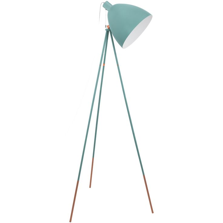 Lámpara de pie de aires vintage, fabricada en acero lacado en color mint con detalles en color cobre.  Su diseño se sostiene una minimalista tripode de finas patas, convietiéndola en una pieza sofisticada y elegante con un puntito retro irresistible.   Tiene una altura de 135,5cm, un ancho de 60cm y un fondo de 60cm.