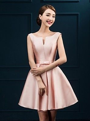 Knee-length Satin Bridesmaid Dress A-line Notched with Bow(s) – GBP £ 94.30