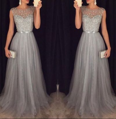 2016 New Arrival Prom Dress, Cap Sleeves Beading Formal Dress, Elegant Beading Tulle Long Dress
