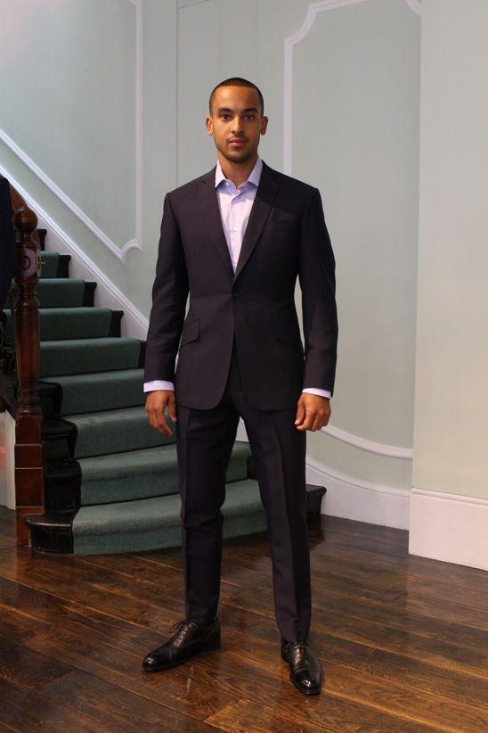 Theo Walcott wears Richard James Bespoke.  At Richard James Bespoke - May '13