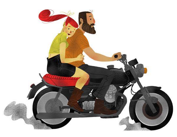 Motorcycle couple by Kim Chapman, via Behance